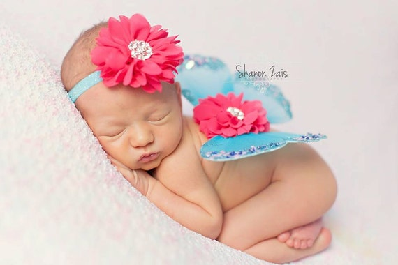 Turquoise and Hot Pink Butterfly Wing Set, Newborn Wings, Newborn Wing Prop, Baby Wing Prop, Newborn Photo Prop, Newborn Butterfly Wings