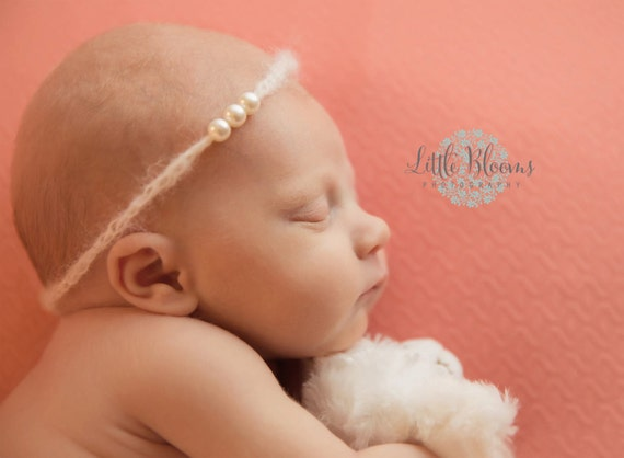 Ready to Ship, Ivory Mohair and Pearl Tie Back, Mohair Halo, Mohair Headband, Organic Headband, Newborn Photo Prop, Newborn Headband