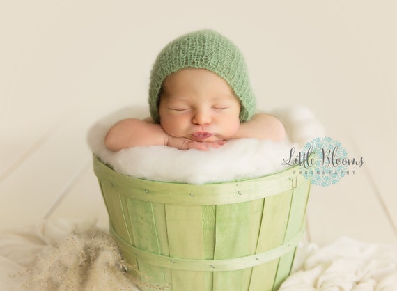 Newborn Bonnet / Green Knit Pants / Mohair Photo Prop / Mohair Bonnet / Newborn Photo Prop / Newborn Knit Outfit / Green Bonnet / RTS