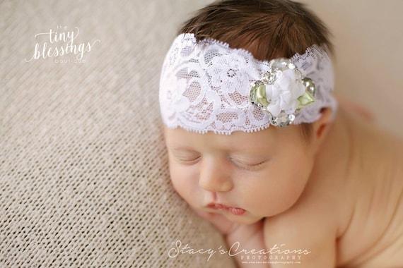 READY TO SHIP, Rhinestone Headband, Lace Headband, Baby Girl Headband, Christening Headband, Baptism Headband, Photo Prop, Newborn Prop