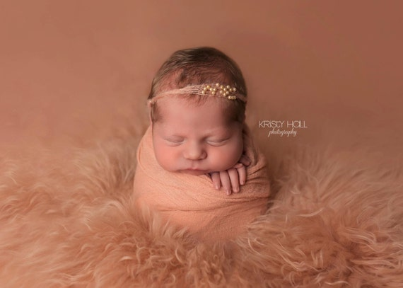 Ready to Ship, Peach Mohair and Pearl Tie Back, Mohair Halo, Mohair Headband, Organic Headband, Newborn Photo Prop, Newborn Headband