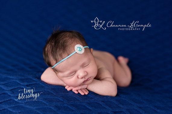 Rhinestone Pearl Headband / Turquoise Headband / Newborn Headband / Baby Headband / Petite Headband / Baby Girl Headband / Simple Headband