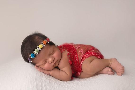 Rainbow Headband / Rainbow Wrap / Newborn Photo Prop / Newborn Wrap / Rainbow Baby / Rainbow Baby Photo Prop / Knit Rainbow Wrap