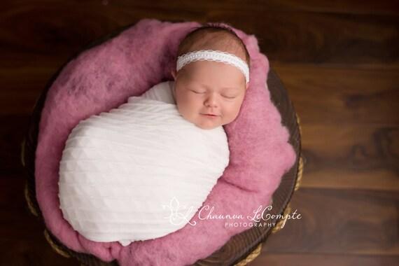 White Lace Headband, White Lace Headband, Newborn Headband, Newborn Photo Prop, Baby Headband, Christening Headband, Pearl Headband