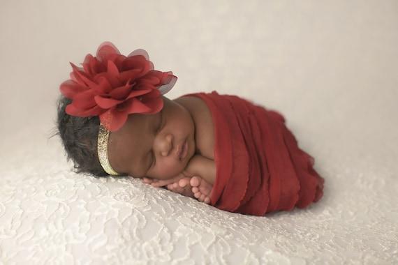 Maroon  Flower Headband / Flower Headband / Baby Girl Headband / Red Flower Headband / Baby Shower Gift / Christmas Headband