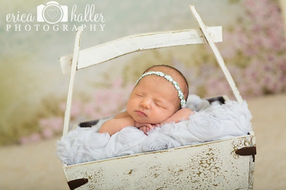 Petite Elegance Collection Petite Floral Headband or Tie Back in Blue Beautiful Newborn Photo Prop Baby Headband