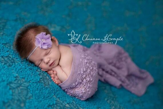 Elaina Collection, Lavender Rhinestone Pearl Headband, Flower Headband, Newborn Headband, Infant Headband