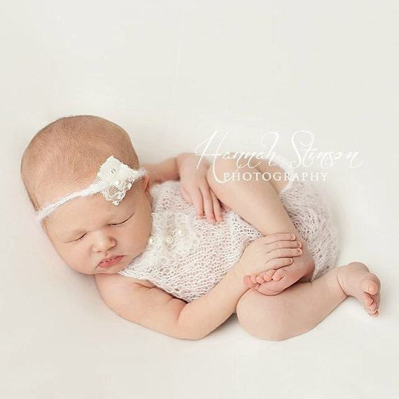 Ivory Mohair Halter Romper and Tie Back / Mohair Photo Prop / Mohair Romper / Newborn Photo Prop / Mohair Tie Back / Ivory Romper / RTS
