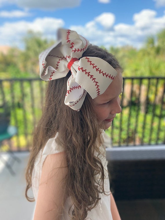"Big Bow, Boutique Bow, Large Boutique Bow, 7""-8"" Bow, Solid Hairbow, Faux Softball Bow, Faux Baseball Bow"