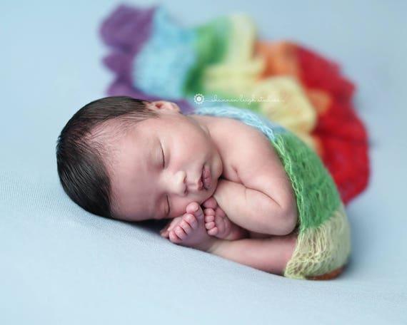 Rainbow Mohair Wrap, Newborn Photo Prop, Newborn Wrap, Mohair Wrap, Rainbow Prop, Rainbow Baby