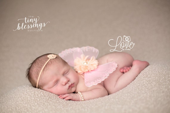 ddbba8e95 ... Pink and Peach Butterfly Wing Set, Newborn Wings, Newborn Wing Prop, Baby  Wing
