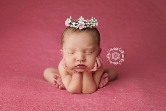 Austrian Crystal Rhinestone Crown, Princess Crown, Newborn Crown, Newborn Baby Prop, Mini Crown, Newborn Photo Prop, Pink Crown