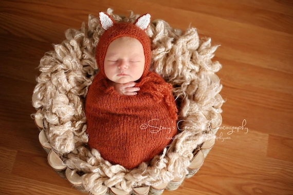 Fox Mohair Snuggle Sack and Bonnet /  Mohair Wrap / Newborn Photo Prop / Mohair Newborn Prop / Mohair Cocoon / Newborn Sack / Fox Prop