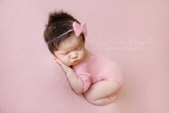 Pink Mohair Romper and Tie Back / Photo Prop / Mohair Photo Prop / Mohair Romper / Newborn Photo Prop / Mohair Tie Back Pink Romper / RTS
