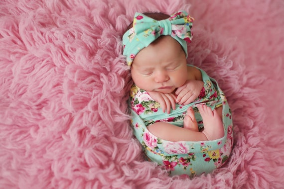 Aqua and Pink Floral Swaddle Blanket / Bow Headband / Headband Swaddle Set / Lightweight Baby Blanket /Swaddling Blanket / Soft Baby Blanket