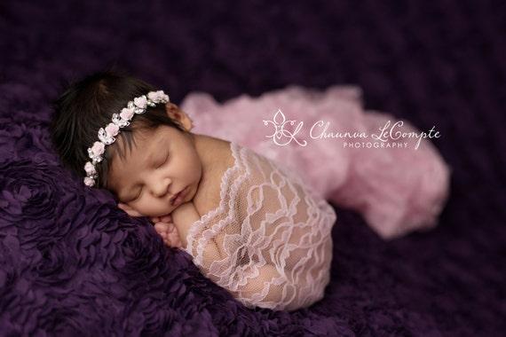Pink Floral Rhinestone Headband, Newborn Rhinestone Headband, Newborn Headband, Simple Headband Baby Headband, Photo Prop, Newborn Prop