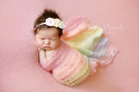Rainbow Mohair Wrap, Newborn Photo Prop, Newborn Wrap, Mohair Wrap, Rainbow Prop, Rainbow Baby, Pastel Rainbow Wrap