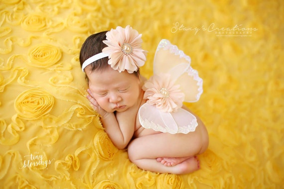 ac55e9bc5 ... White and Peach Butterfly Wing Set, Newborn Wings, Newborn Wing Prop, Baby  Wing