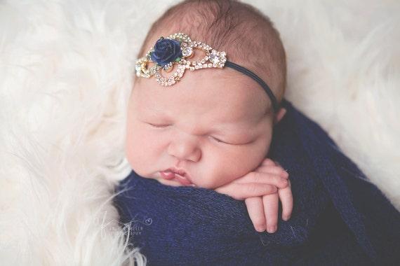 Gold Rhinestone and Navy Floral Headband, Gold Rhinestone Headband, Navy Headband, Baby Girl Headband, Rhinestone Headband, Photo Prop