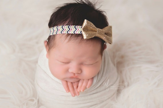 Gold Glitter Bow Headband, Mini Bow Headband, Baby Headband, Photo Prop, Gold Headband, Chevron Headband