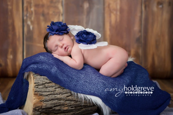 White and Navy Butterfly Wing Set, Newborn Wings, Newborn Wing Prop, Baby Wing Prop, Newborn Photo Prop, Newborn Butterfly Wings