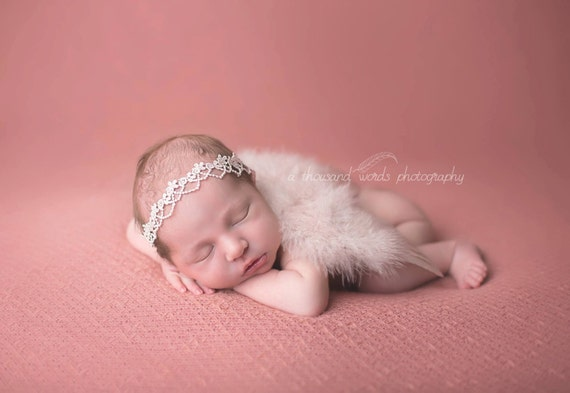 Blush Angel Wing and Lace Tie Back, Newborn Wings, Newborn Angel Wings, Newborn Wing Prop, Angel Wing Prop, Newborn Photo Prop