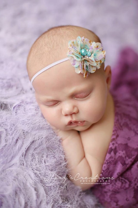 Aqua and Lavender Floral Headband and Purple Lace Wrap, Beautiful Newborn Photo Prop, Baby Tie Back, Newborn Photo Prop
