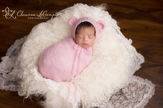 Pink Mohair Snuggle Sack and Bonnet /  Mohair Wrap / Newborn Photo Prop / Knit Newborn Prop / Mohair Cocoon / Newborn Sack / RTS
