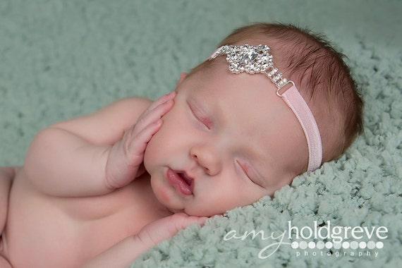 Stunning Fit for a Queen Newborn Stunning Rhinestone Tie Back Baby Headband Halo Baby Crown Photo Prop