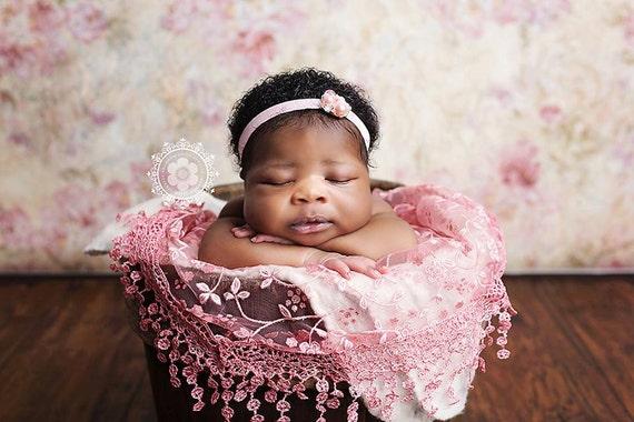 Rhinestone Pearl Headband / Baby Pink Headband / Newborn Headband / Baby Headband / Petite Headband / Baby Girl Headband / Newborn Prop