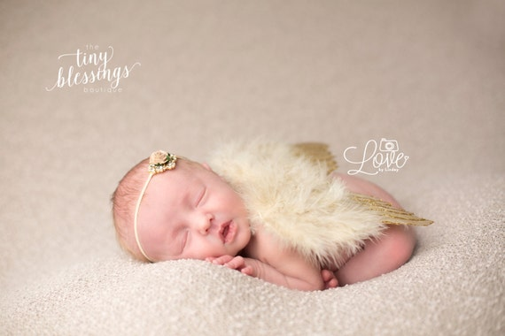 Couture Fairy Baby Gold Glitter Angel Baby Wing and Floral Rhinestone Headband Set Beautiful Newborn Photo Prop Infant Newborn Wing Set