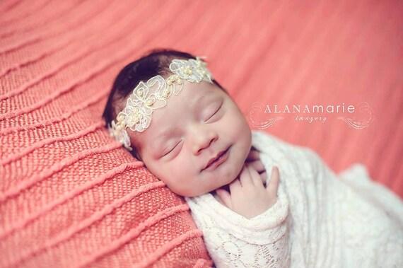 Natalia, Ivory Lace Pearl Headband, Newborn Headband, Newborn Photo Prop, Baptism Headband, Christening Headband, Baby Headband