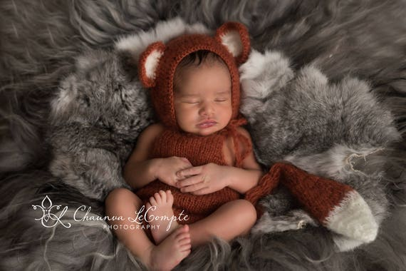 Fox Mohair Romper and Bonnet / Mohair Wrap / Newborn Photo Prop / Mohair Newborn Prop / Newborn Romper / Fox Prop / Knit Romper / RTS