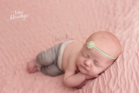 Rhinestone Flower Headband / Mint Green Headband / Newborn Headband / Baby Headband / Petite Headband / Baby Girl Headband