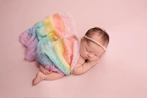 Rainbow Mohair Wrap, Newborn Photo Prop, Newborn Wrap, Mohair Wrap, Rainbow Prop, Rainbow Baby, Pastel Rainbow Baby Gift