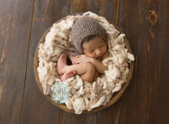 Brown Newborn Pants / Brown Knit Pants / Mohair Photo Prop / Mohair Bonnet / Newborn Photo Prop / Newborn Knit Outfit / Brown Bonnet / RTS