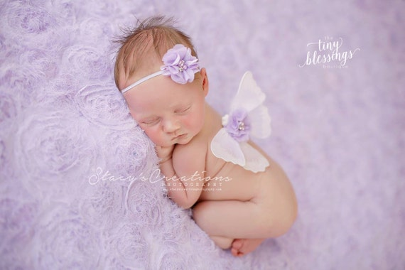 White and Lavender Mini Butterfly Wing Set, Newborn Wings, Newborn Wing Prop, Baby Wing Prop, Newborn Photo Prop, Newborn Butterfly Wings