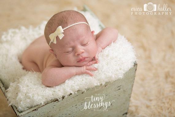 Sequin Bow Headband / Petite Bow Headband / Newborn Headband / Petite Headband / Baby Girl Headband / Christening Headband/ Baptism Headband