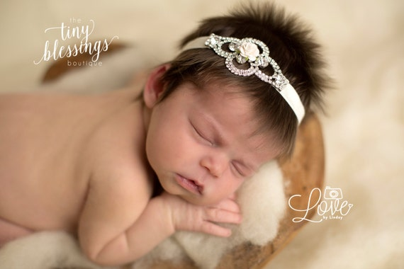 Stunning Fit for a Queen Newborn Silver Finish and Rhinestone Floral Helena in Ivory Baby Headband Halo Baby Crown Photo Prop