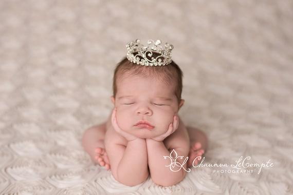 Austrian Crystal Rhinestone Crown, Princess Crown, Newborn Crown, Newborn Baby Prop, Mini Crown, Newborn Photo Prop, Aubree