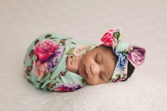 Floral Swaddle Blanket / Bow Headband / Headband Swaddle Set / Lightweight Blanket /Swaddling Blanket / Soft Baby Blanket / Hospital Blanket