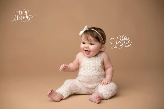 Ivory Sitter Set / Knit Toddler Romper / Mohair Romper / Ivory Bow Tie Back / Ivory Romper / Toddler Photo Prop / Knit Photo Prop / RTS
