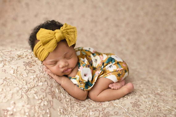 Off the Shoulder Newborn Romper / Mustard Yellow Floral Romper / Newborn Knit Romper / Newborn Romper / Newborn Knit Outfit / Baby Girl Prop
