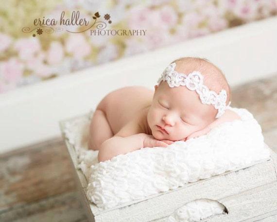 Pearl Beaded Headband, Newborn Headband, Newborn Photo Prop, Baptism Headband, Christening Headband, Baby Headband