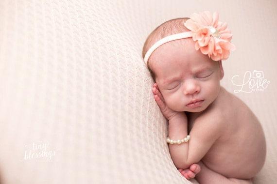 READY TO SHIP, Peach Headband, Flower Headband, Baby Girl Headband, Baby Headband, Newborn Headband, Newborn Photo Prop, ava