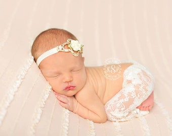 Ivory Lace Pants and Rhinestone Flower Headband, Lace Pants, Flower Headband, Photo Prop, Newborn Photo Prop