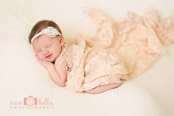 Nora Pearl Beaded and Lace Headband Halo Tiara Beautiful Newborn Photo Prop Baby Headband