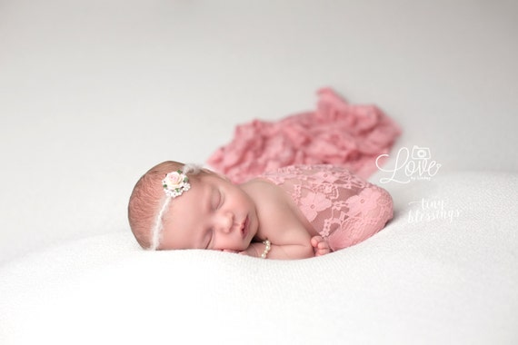 Mauve Rhinestone Flower Tie Back and Lace Wrap, Beautiful Newborn Photo Prop, Baby Tie Back, Newborn Photo Prop