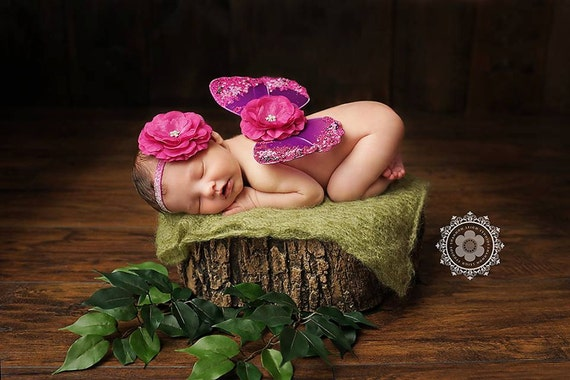 READY TO SHIP, Purple and Hot Pink Butterfly Wing Set, Newborn Wings, Newborn Wing Prop, Baby Wing Prop, Newborn Photo Prop