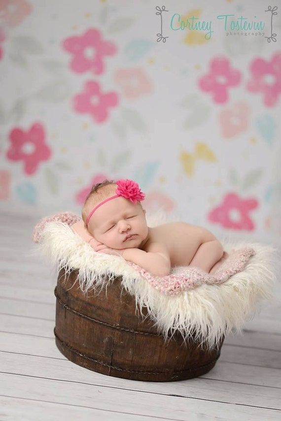 READY TO SHIP, Hot Pink Flower Headband, Newborn Photo Prop, Baby Headband, Simple Headband, Newborn Headband, Flower Headband, Amelia
